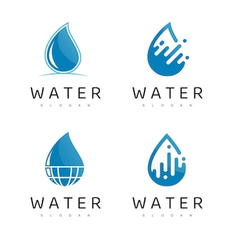 Water logo, droplet, mineral water company icon