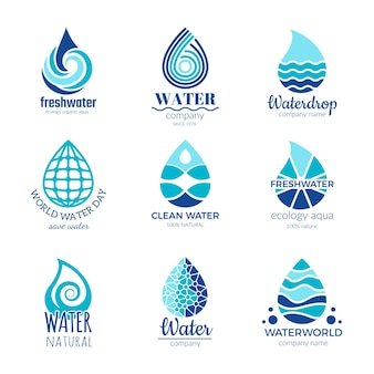 Water logos. aqua water drops and splashes silhouette health rain spa  symbols isolated with place for your text.