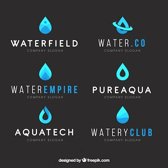 Water logos collection for companies in flat style