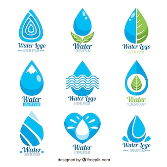 Коллекция водных логотипов для компаний в плоском стиле