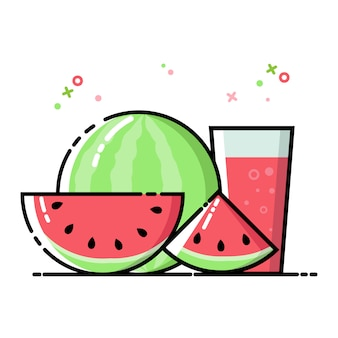 Water melon flat icon set vector