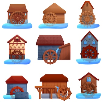 Water mill icons set, cartoon style