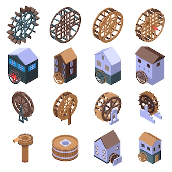 Water mill icons set, isometric style