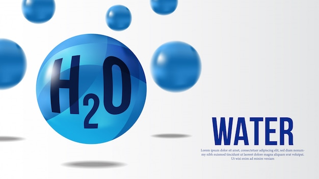 Water molecule 3d sphere banner
