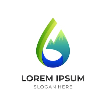 水山のロゴ、水と山、3d緑と青のカラースタイルの組み合わせロゴ