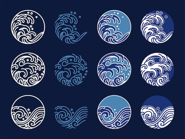 Water and ocean wave line art logo vector illustration. oriental style graphic design.