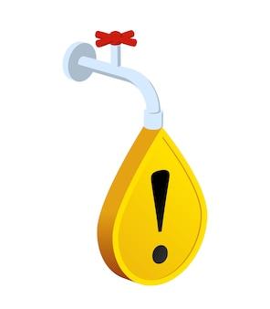 断水。黄色い看板の水滴と水道水。