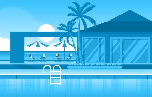 水屋外スイミングプールホテル自然リラックスビューイラスト