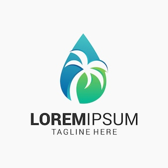 Water and palm tree logo design template