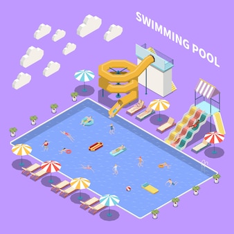 Water park aquapark isometric composition with view of open pool with umbrellas sun loungers and waterslides