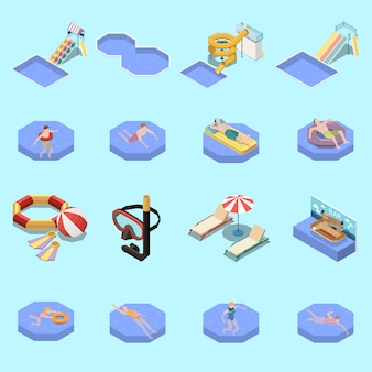 Water park aquapark isometric set with sixteen isolated images of swimming people waterslides and sun loungers