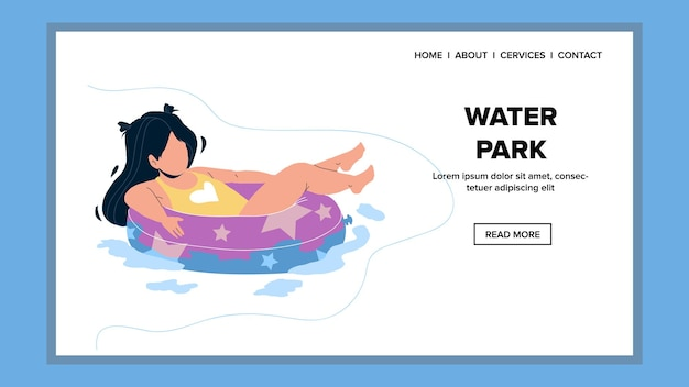 어린 소녀 벡터를 즐기는 워터 파크 명소. 구명 부표에 떠있는 아이, 워터 파크 수영장에서 아이. aquapark 웹 플랫 만화 일러스트 레이 션에서 문자 여름 휴가 장난 시간