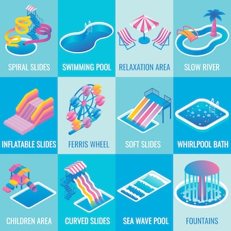 Water park attractions flat isometric icon set
