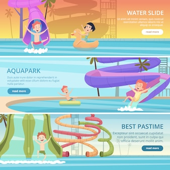 Water park banners. aqua games funny pleasure for kids at pool playground with water slide and rubber castle vector cartoon pictures