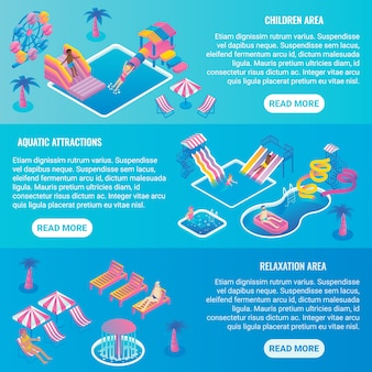 Water park flat isometric horizontal banner set