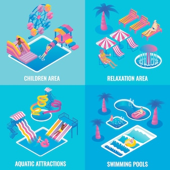 Water park flat isometric poster set