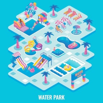 Water park flat isometric