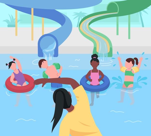 Аквапарк весело плоский цвет. гимнастика для детей. развлечения в аквапарке. физические упражнения и спорт. детский сад детские 2d мультипликационные персонажи с парком аттракционов