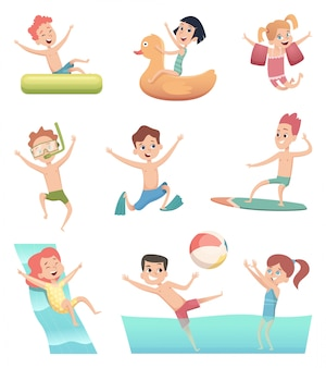 Water park games. fun of children aqua activities with water swimming pool kids on rubber rings or mattress vector characters