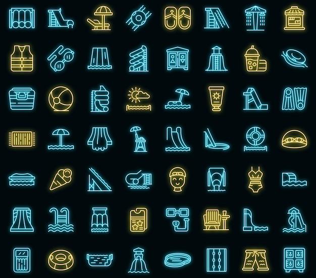 Набор иконок аквапарк. наброски набор аквапарка векторные иконки неонового цвета на черном