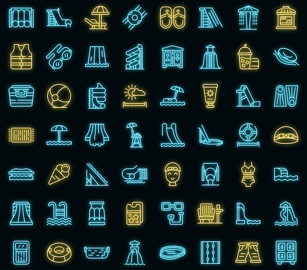 Water park icons set. outline set of water park vector icons neon color on black