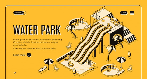 Water park isometric vector web banner or landing page template.