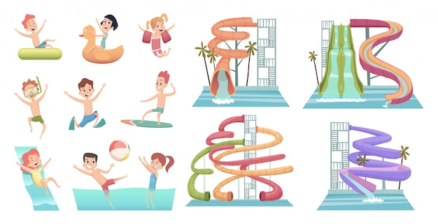 Water park. pool slides aqua attractions for kids swimming and jumping happy characters swim rings vector cartoon pictures
