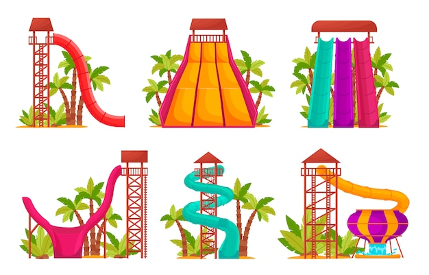 Water park set with colored waterslides and tubes for kids activity. summer attractions in an aquapark isolated on white background,