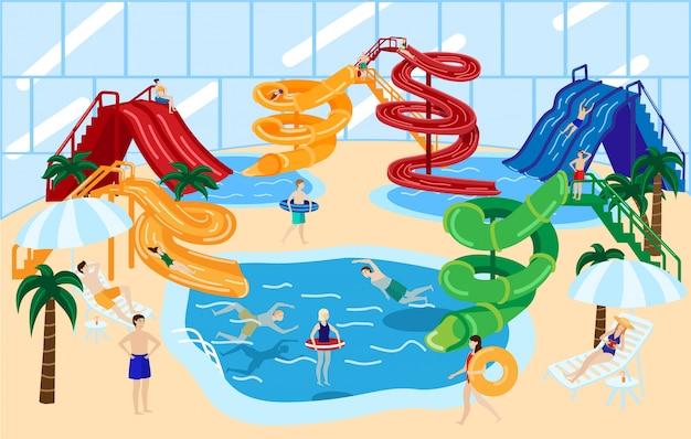 Water park slide with people having fun on waterslide and swimming pool in waterpark. amusement in aqua park.