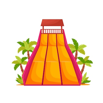 Water park with colored waterslide for kids activity.