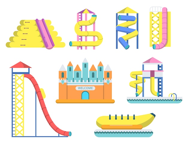 Water park with various attractions