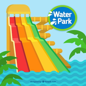 Water park with waves and palm trees