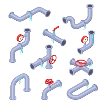 Water pipe. broken pipe tube with leaking water. plumbing construction pipeline with damage element. isometric pipe parts with water leaks, sewage burst