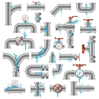 Утечка из водопровода. сломанные поврежденные металлические трубы, протекающая трещина в трубе, набор значков иллюстрации повреждения промышленных металлических труб. подача трубопровода, негерметичный трубопровод, повреждение и утечка