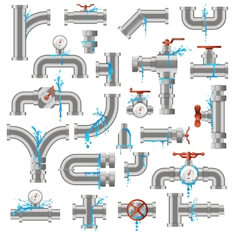 Water pipe leak. broken damaged metal pipes, pipe leaky crack, industry metal tube pipes damage  illustration icons set. pipeline supply, leaking piping, damaged and leakage