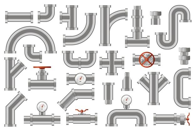 수도관. 금속 파이프 라인 건설, 카운터, 밸브, 로터리 노브 아이콘 세트가있는 산업용 금속 튜브 파이프. 튜브 금속 및 배수, 크로스 건설 그림