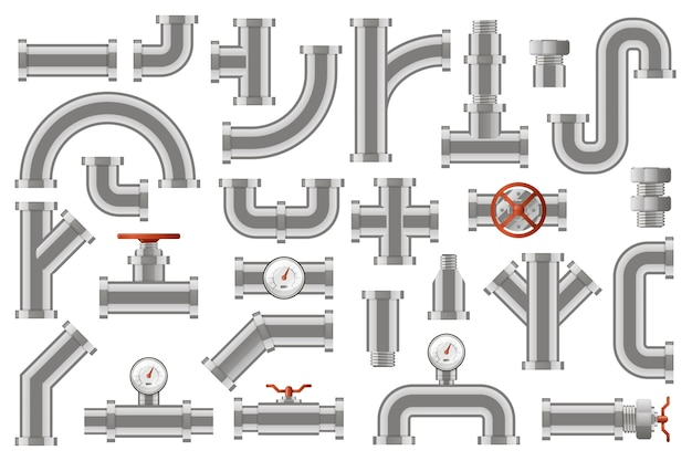 Water pipes. metal pipelines construction, industrial metal tube pipes with counters, valves, rotary knobs   icons set. tube metal and drainage, cross construction illustration
