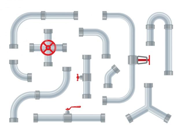 수도관. 튜브 용 강철 및 플라스틱 커넥터. 파이프 라인 부품, 밸브 및 배관이 분리되어 있습니다. 트렌디 한 플랫 스타일의 산업용 배수 시스템 세트.