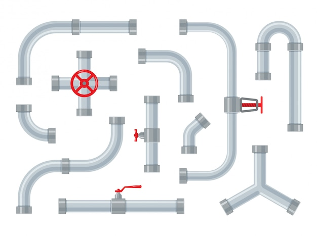 Water pipes. steel and plastic connectors for tubes. pipeline parts, valves and plumbing isolated. set of industrial drainage systems in a trendy flat style.