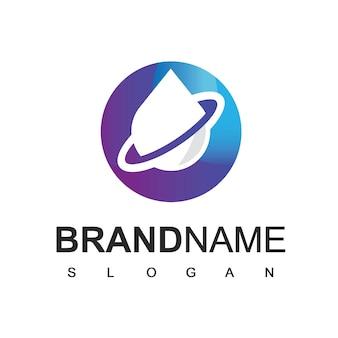 Шаблон дизайна логотипа водной планеты