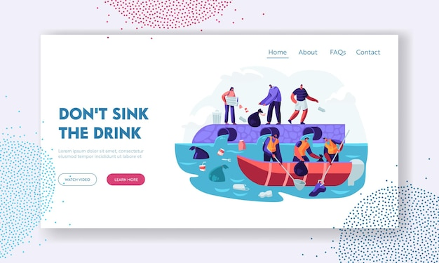 Water plastic pollution. website landing page template