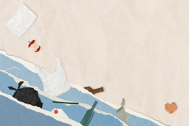 Water pollution background with garbage and waste
