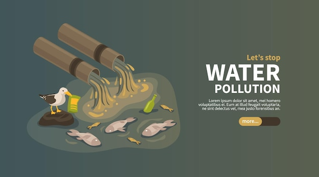 Water pollution from industry horizontal web banner with industrial pipes polluting ocean with waste products