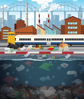 Water pollution with plastic bags in city