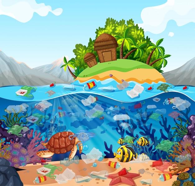 바다에서 비닐 봉투로 수질 오염