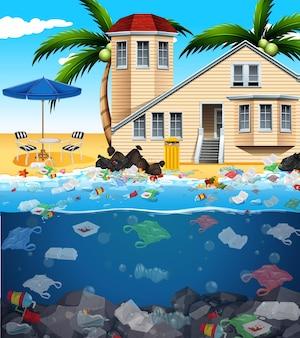 바다에서 비닐 봉지로 수질 오염