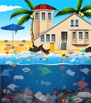 Water pollution with plastic bags in ocean