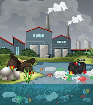 Water pollution with plastic bags in river