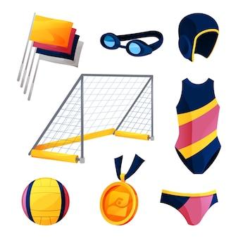 수구 장비 또는 수영 게임 액세서리 세트.
