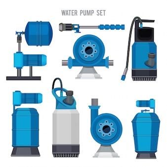 Water pump system. aqua treatment electronic steel compressor agriculture sewage station  icons set